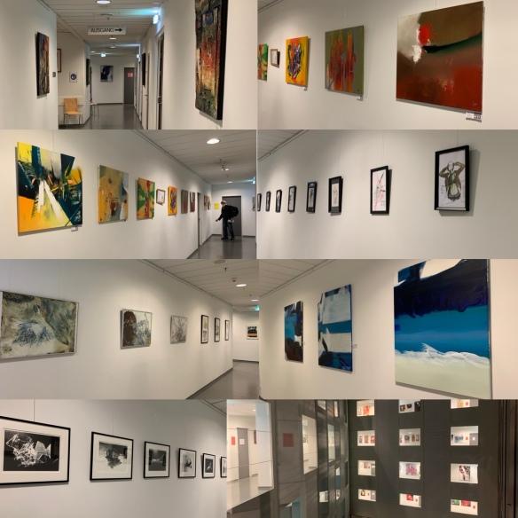 Collage - Ein Blick in die Gänge, die mit Kunst sehr einladend wirken